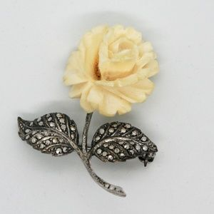 Jewelry - White Rose Sterling Silver Pin